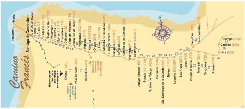 Mapa do Caminho Francês - verso da Credencial do Peregrino