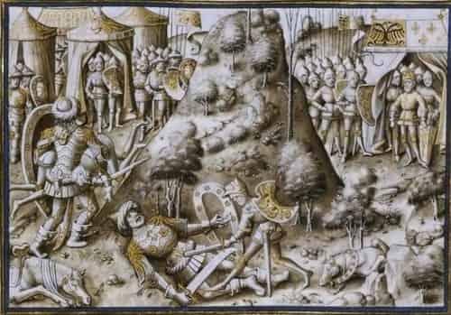 Representação da luta entre Rolando (Roldán) e o Gigante Ferragut, em Nájera