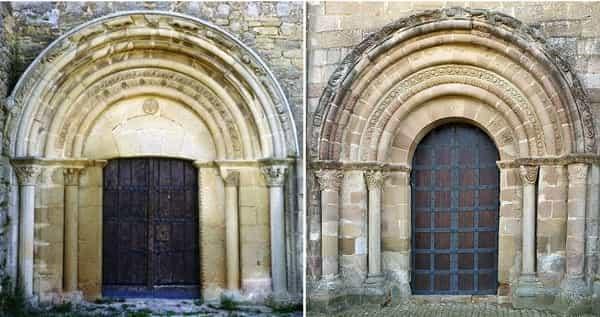 Pórticos gêmeos, da Igreja de São Miguel, em Olcoz, e da Ermita de Santa Maria de Eunate, nesta ordem.