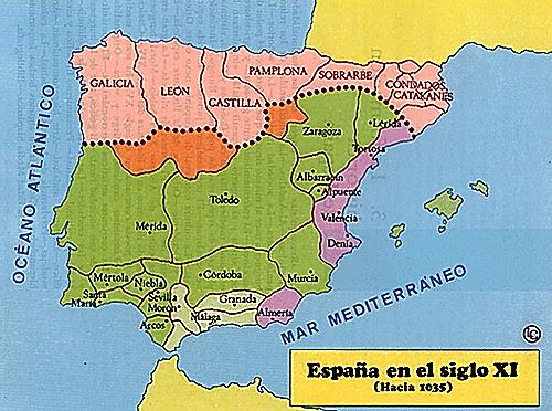Mapa da Espanha no século XI